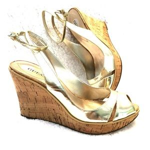 Guess Gold Peep Toe Ankle Wrap Cork Wedge Heels